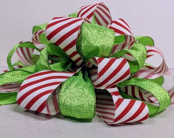 Red Stripe and Lime Tree Topper Bow