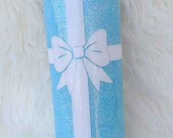 Blue Tumbler with Bow