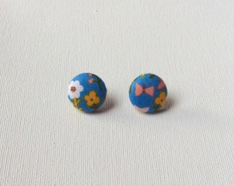 Spring Time Fabric Button Earrings