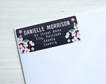 30 Custom Return Address Labels Pink Flowers Black Chalkboard Personalized Address Stickers / 935
