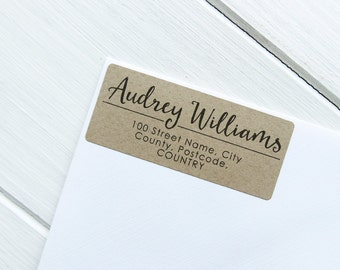 30 Custom Return Address Labels Personalized Kraft Brown Address Stickers / 912