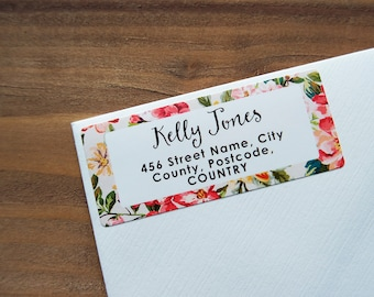 30 Custom Return Address Labels Floral Tropical Flowers Personalized Address Stickers / 903