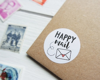 48 Happy Mail Stickers Happy Post Letter Small Envelope Seals 30mm / Stationery