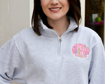 Lilly Pulitzer Monogram Sweatshirt, Lilly Applique Quarter Zip, Lilly Monogrammed Pullover, Lilly Pulitzer Apparel, Preppy Personalized Gift