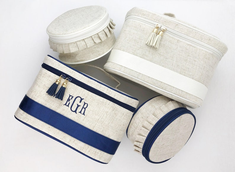 f7d66e1463d0 Monogram Cosmetic Bag Set Personalized Make Up Bag Travel