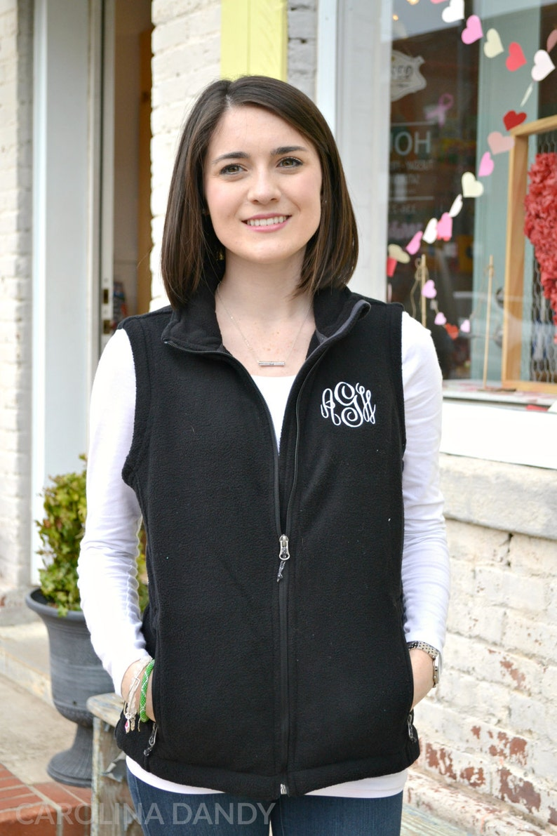 Monogram Fleece Vest Monogrammed Outerwear Personalized image 0