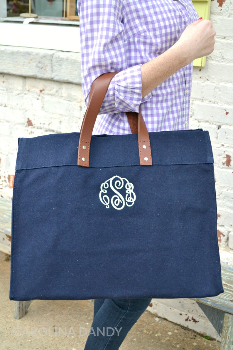 Monogrammed Personalized Navy Canvas Tote with Leather Handles Personalized Canvas Tote Bag Monogram Canvas Tote Bag