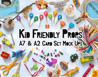 Download Free Kid Friendly Props & A7 + A2 Card Set MockUps - Card Templates, HERO, Showcase, Presentation, Scene Creator, Kids Scene Generator PSD Template