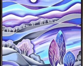 "Winter Sleep. Original Silk Painting by Svetlana Titova. Size 28"" h x 20"" w"