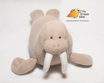DIY Witty Walrus - Fleece Toy / Softie / Stuffed Fabric Animal / Sea Creature / Plushie for Children / Kids- PDF Sewing Pattern and Tutorial