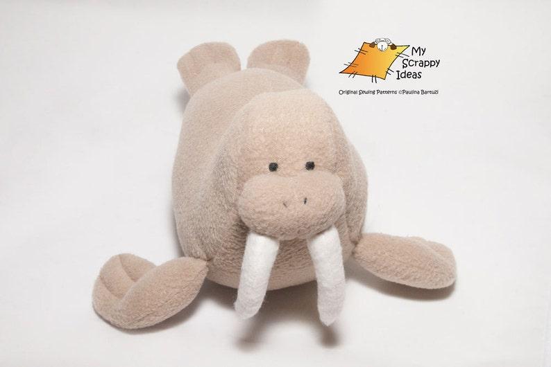 DIY Witty Walrus  Fleece Toy / Softie / Stuffed Fabric Animal image 0