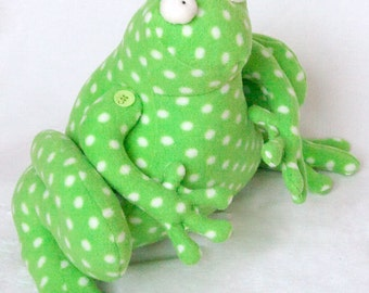 Ribbit the Fearless Frog- Fleece Toy / Door-Stop/ Home Decoration/ Plushie / Softie/ Stuffed Fabric Animal - PDF Sewing Pattern and Tutorial