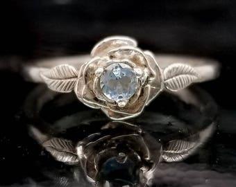 Aquamarine Rose Leaf Flower Ring - Made to Order