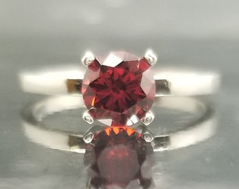 Red Garnet CZ Silver Ring Solitaire Made to Order