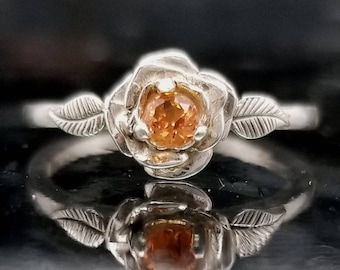 Orange Sapphire Silver Flower Ring - Made to Order