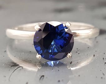 Blue Sapphire Silver Engagement Ring Solitaire Made to Order