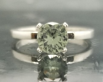 Green Spinel Silver Engagement Ring Solitaire Made to Order
