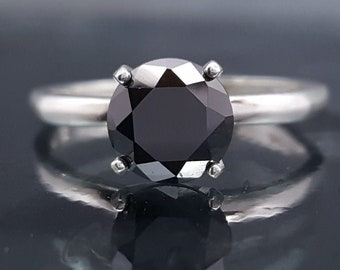 Black Diamond CZ Silver Ring Solitaire Made to Order