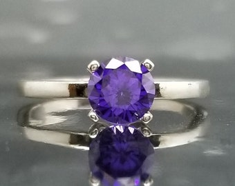 Violet Amethyst CZ Silver Ring Solitaire Made to Order