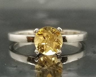 Citrine Sterling Silver Solitaire Ring Made to Order