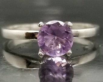 Purple Amethyst Silver Ring Solitaire Made to Order
