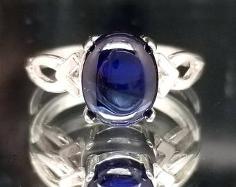 Blue Sapphire Oval Cabochon Ring Solitaire Made to Order