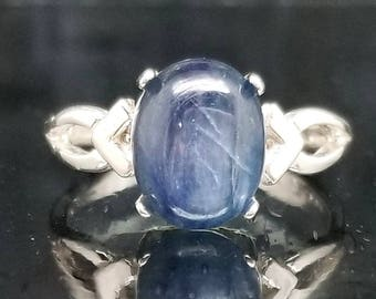 Blue Kyanite Oval Silver Ring Solitaire Made to Order