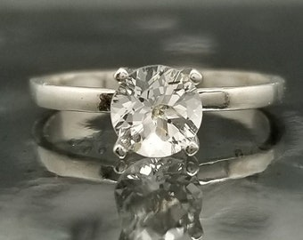White Topaz Silver Solitaire Ring Made to Order