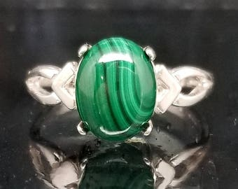 Malachite Oval Silver Ring Solitaire Made to Order