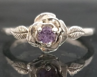Rose Alexandrite Flower Ring Silver Delicate Petite Bridal Wedding Dainty Girlfriend Engagement Size 4 5 6 7 8 Promise Birthday Gift R288