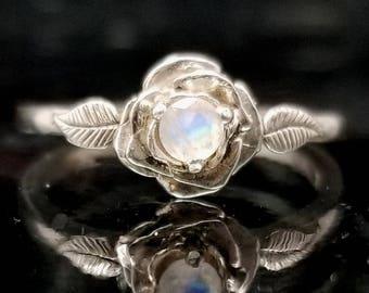 Moonstone Rose Leaf Flower Ring - Made to Order