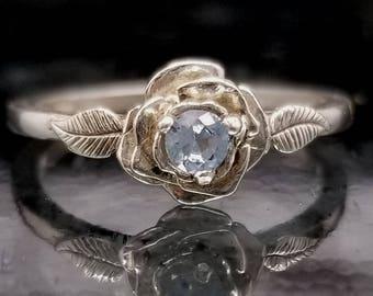 Light Blue Spinel Flower Ring - Made to Order