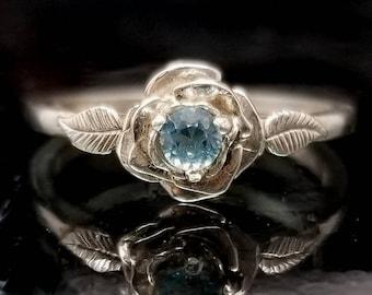 Blue Topaz Rose Leaf Flower Ring - Made to Order
