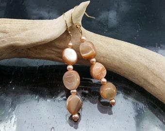MOP Gold Dangle Earrings