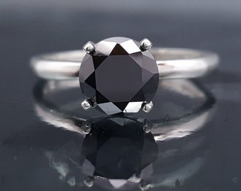 Black Diamond Engagement Goth Ring Solitaire Made to Order