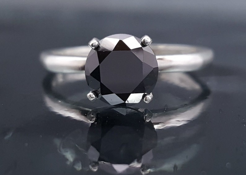 Black Diamond Engagement Goth Ring Solitaire Made to Order image 0