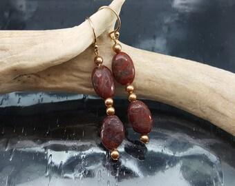 Red Jasper Gold Dangle Earrings