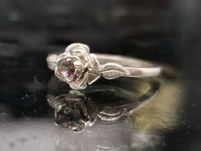 Rose Mystic Topaz Flower Ring Silver Girlfriend Delicate Petite Bridal Wedding Dainty Engagement Size 4 5 6 7 8 Promise Birthday Gift R264