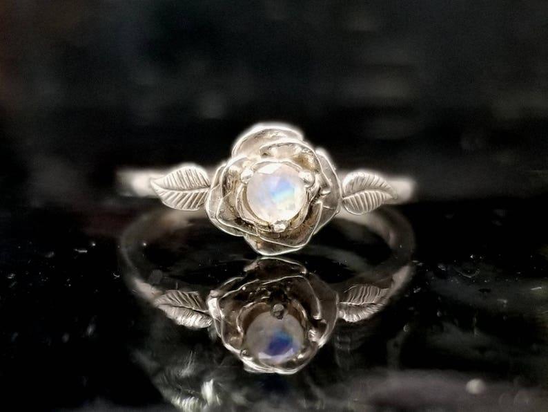 Moonstone Rose Leaf Flower Ring  Made to Order image 0