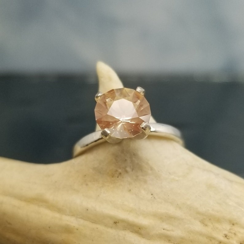Oregon Sunstone Ring Round Custom Faceted Sterling Silver Size 5 6 7 8 9 Diamond Alternative Jewelry Solitaire Engagement Birthday R391