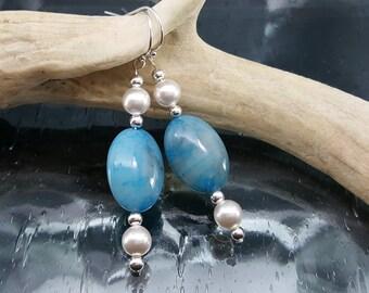 Blue Quartz Silver Dangle Earrings