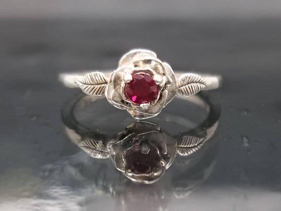 Rose Ruby Flower Ring Girlfriend Dainty Silver Delicate Petite