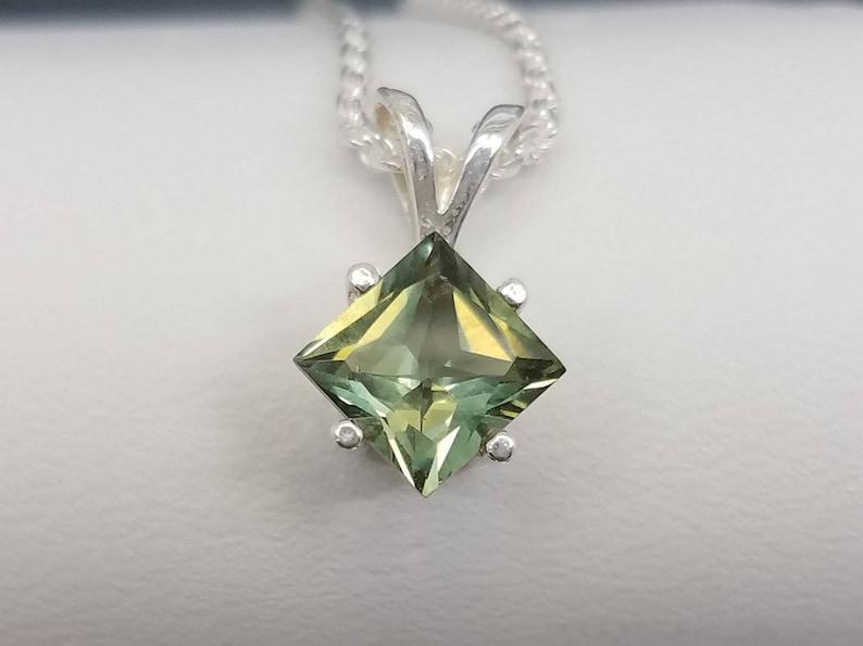 Green Spinel Princess Cut Pendant