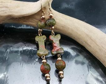 Unakite Gold Dangle Earrings