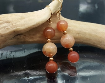 Sunstone & Red Agate Gold Dangle Earrings