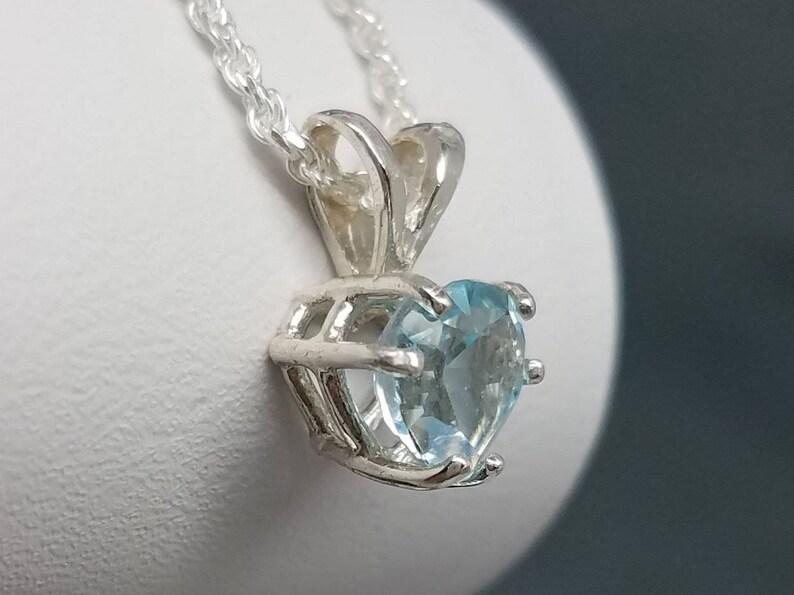Sky Blue Topaz Silver Heart Pendant