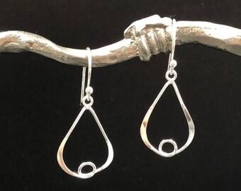 Sterling Silver Teardrop Loop Earrings