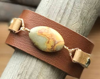 Chic Boho Leather Cuff with Bead