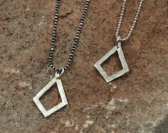 Geometric Diamond Sterling Silver Necklace.