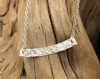 Hammered Sterling Silver Bar on Sterling Silver Flat Cable Chain